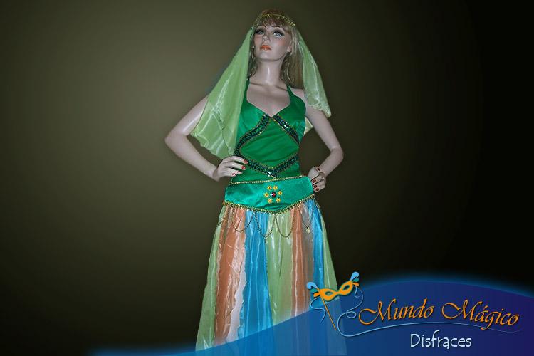 traje árabe en color verde