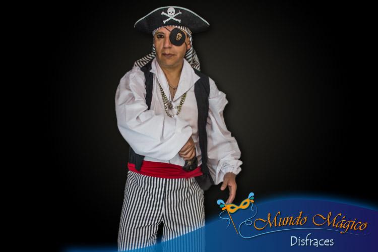 Pirata pantalón rayas, chaqueta y sombrero