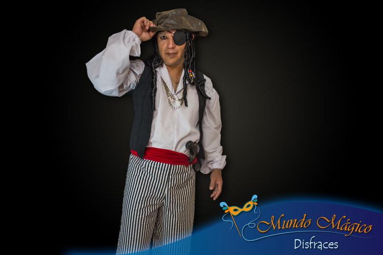 Pirata pantalón rayas, chaqueta y peluca