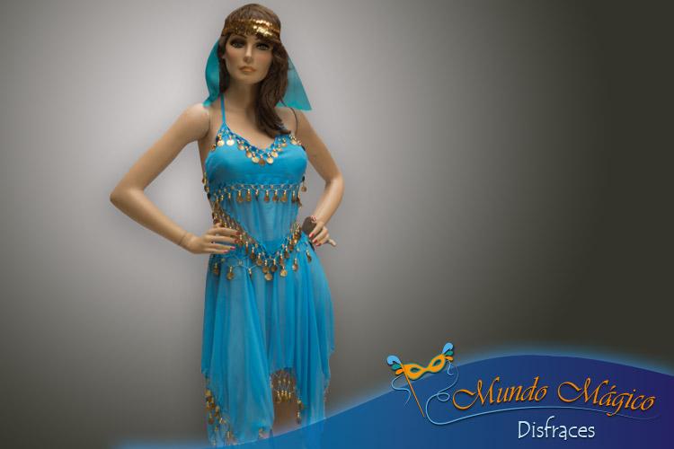 traje árabe en color turquesa