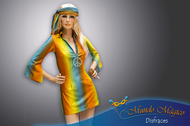 Hippie con vestido de colores