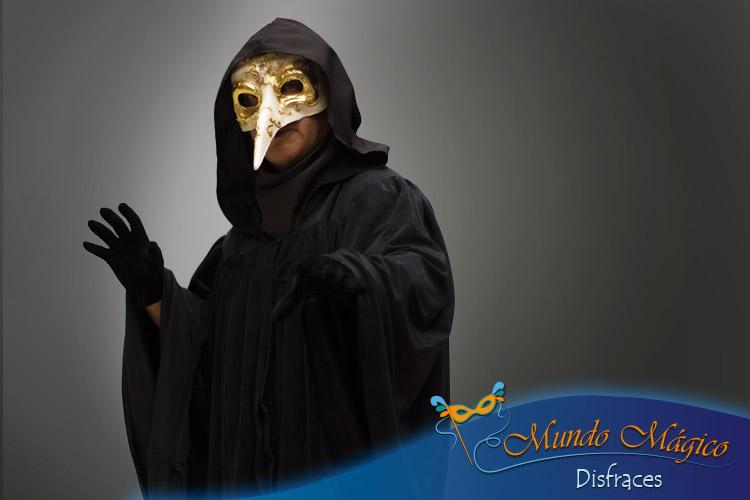 traje del carnaval de venecia con máscara del médico de la peste