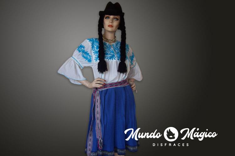 Indígena falda plisada celeste