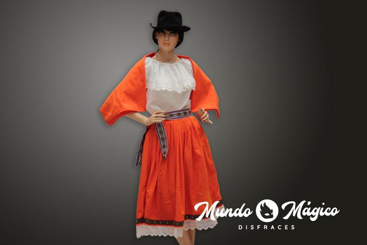 indígena falda naranja