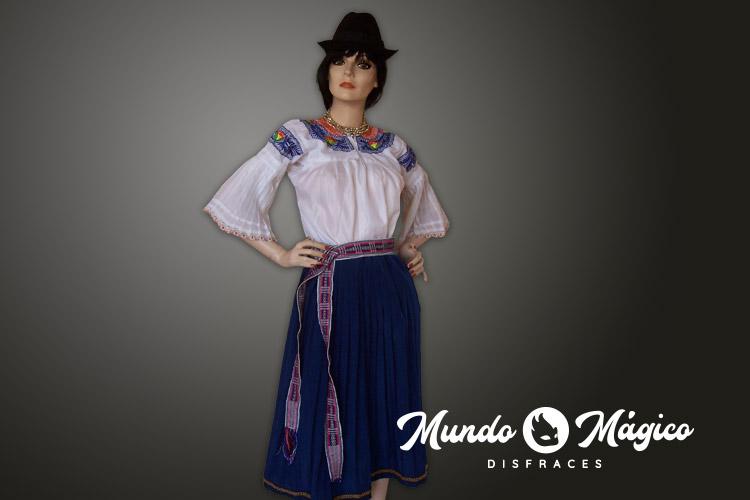 indigena falda azul plisada